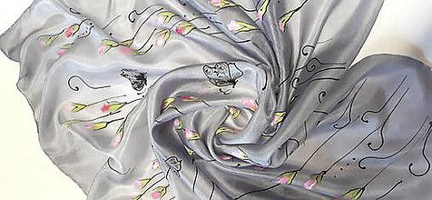 Šatky - Hodvábna šatka s monogramom - 13406963_