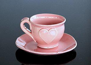 Nádoby - Keramická šálka so srdiečkom 100 ml Anna ružová - 13409088_