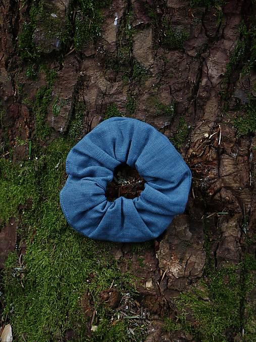 Scrunchies ľanová gumička modro šedá