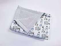 Textil - Deka vafľová + zvieratká s modro-mentolovými balónikmi - 13409457_