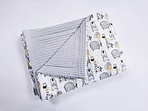 Textil - Deka vafľová + zvieratká so žlto-sivými balónikmi - 13409463_