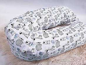 Textil - Tehotenský vankúš / Vankúš na dojčenie zvieratká s modro-mentolovými balónikmi - 13409413_