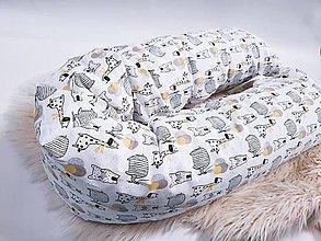 Textil - Tehotenský vankúš / Vankúš na dojčenie zvieratká so žlto-sivými balónikmi - 13409425_