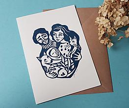 Grafika - Rodina II-linoryt pohľadnica - 13409572_