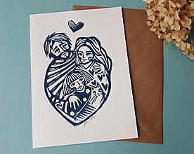 Grafika - Rodina -linoryt pohľadnica - 13409691_