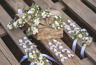Ozdoby do vlasov - Lúčny svadobný set  - venček, pierka,náraky - 13408989_