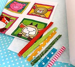 Textil - Kreatívna sada UŠI SI SÁM - Textilná knižočka leporelo (Zvieratká z dvora) - 13409462_
