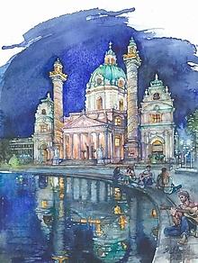 """Obrazy - Akvarelový obraz """"Večer v meste"""" - 13410789_"""