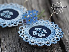 Náušnice - Modrotlačové náušnice s čipkou nezábudka - 13410875_