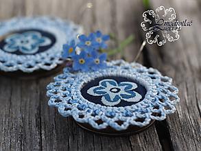 Náušnice - Modrotlačové náušnice s čipkou dvojfarebné - 13410899_
