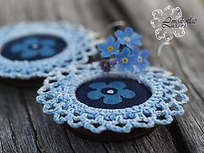 Náušnice - Modrotlačové naušnice s čipkou nezábudka 2. - 13410938_
