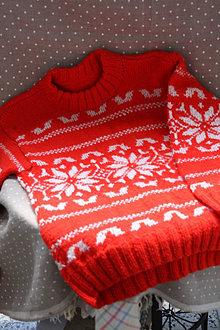 Svetre/Pulóvre - Pletené. Zimný pletený sveter s nórskym vzorom - 13409476_