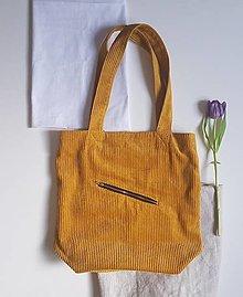 Nákupné tašky - Taška - Cord yellow - 13411020_