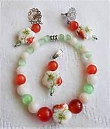 Sady šperkov - Letný záhon (Oranžové a zelené mačacie oko, nefrit, porcelán) - 13411917_