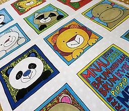 Textil - Bavlnený panel UŠI SI SÁM - Textilná knižočka leporelo (Zvieratká z exotiky) - 13411645_
