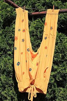 Nohavice - Horčicové dámske HÁREMKY veľkosť XL-  XXL  pohodlné háremové nohavice s pudlom - 13411923_