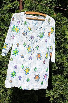 Topy - Pestrofarebný kvetinkový bavlnený letný top - blúzka veľkosť L - 13411943_
