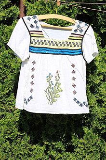 Topy - Hippie balnený top veľkosť M ručne maľovaný Woodstock - 13411954_