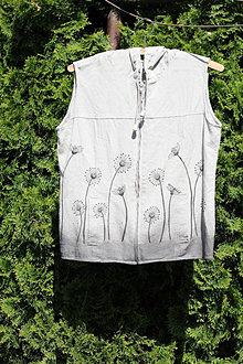 Iné oblečenie - Ľanový letný top veľkosť 34 - 36 mikina s kapucňou bez rukávov Ľanová vesta - 13411969_