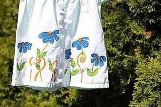 Detské oblečenie - Detské maľované šaty veľkosť 56 pre 1-2 mesačné babätko s kvetinkami - 13411978_