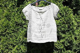 Topy - Ľanový top Na lúke / Ručne maľované bylinky /veľkosť S cca 36-38 - 13412009_