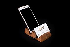 Pomôcky - Držiak na mobil a vizitky drevený - 13412412_