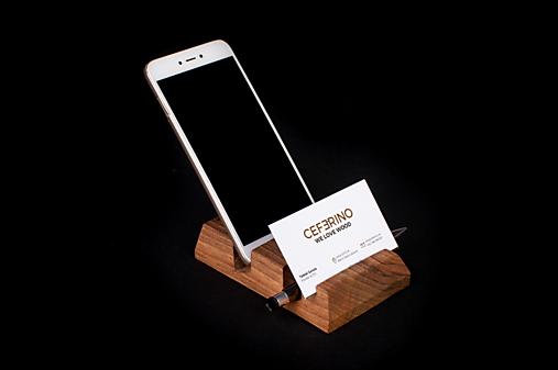 Držiak na mobil a vizitky drevený