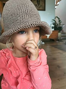 Detské čiapky - Ľanový klobúčik - 13413898_
