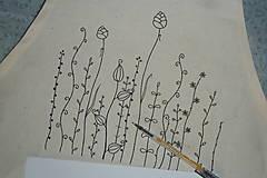 Iné oblečenie - Zásterka zo surovej bavlny Kreslené trávy fantázia - 13415784_