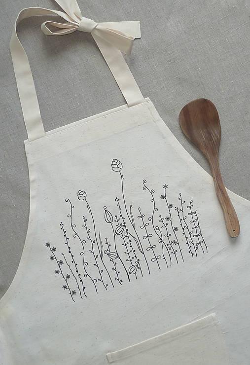 Zásterka zo surovej bavlny Kreslené trávy fantázia