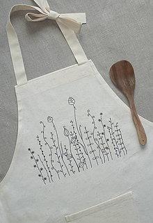 Iné oblečenie - Zásterka zo surovej bavlny Kreslené trávy fantázia - 13415782_