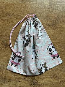 Batohy - Vrecko na úbor - ružová panda - 13414061_