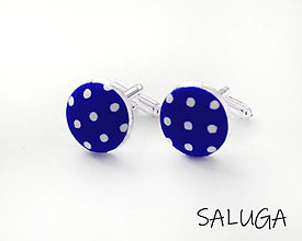 Šperky - Manžetové gombíky - kráľovsky modré - bodkované - 13415296_