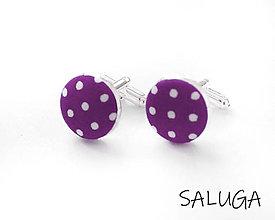 Šperky - Manžetové gombíky - fialové - ultra violet - bodkované - 13415567_