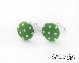Šperky - Manžetové gombíky - zelené - hráškové - ultra violet - bodkované - 13415593_