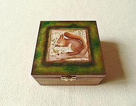 Krabičky - Drevená krabička Veverička - 13414644_