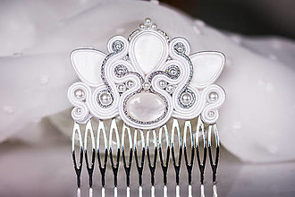 Ozdoby do vlasov - Perlový soutache hrebienok na svadbu - svadba 2021 - 13414154_