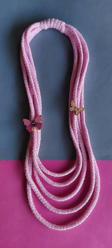 Náhrdelníky - Detský ružový s motýlikmi - 13414529_