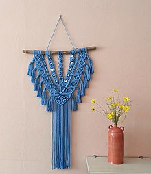 Dekorácie - Macramé Boho záves královská modrá - 13418782_
