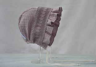Detské čiapky - Ľahký čepček z mušelínu Old levander - 13419299_