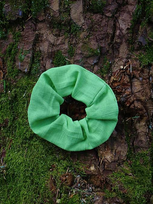 Scrunchies ľanová gumička zelená
