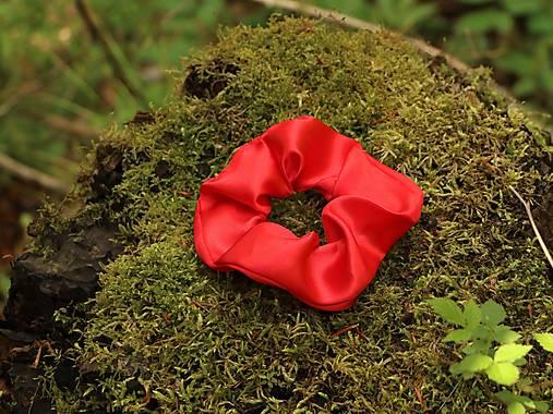 Scrunchies gumička saténová červená