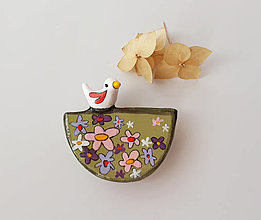 Odznaky/Brošne - Vtáča na lúke II.-brošňa - 13420407_