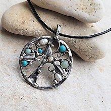 Náhrdelníky - tyrkysový strom života náhrdelník - 13423223_