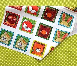 Textil - Bavlnený panel UŠI SI SÁM - Textilné pexeso (Zvieratká z lesa) - 13422289_