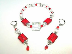 Sady šperkov - Krištáľová súpravička červená - 13422933_