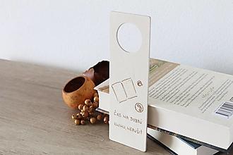 """Tabuľky - Drevená tabuľka na dvere """"Čas na dobrú knihu"""" - 13423067_"""