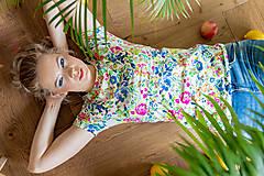 Topy, tričká, tielka - Tričko na dojčenie floral garden - 13420866_