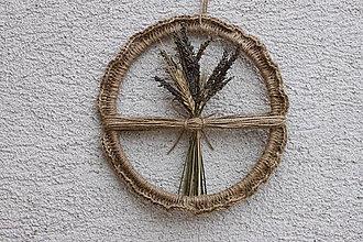 Dekorácie - Levanduľová kytica s obilím Háčkovaná závesná prírodná dekorácia - 13419894_