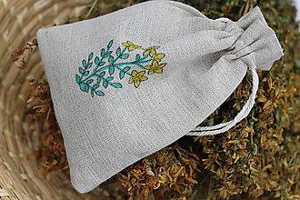 Potraviny - Sypaný čaj bio ľubovník bodkovaný v ľanovom ručne maľovanom vrecku - 13422101_